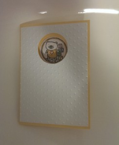 Baby cut out card - yellow
