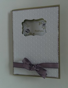 Decorative label cut out thank you card
