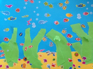 Kids paper craft fish tank