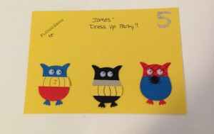 Super hero owl party invitation