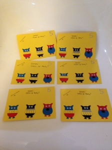 Super hero owl invitations